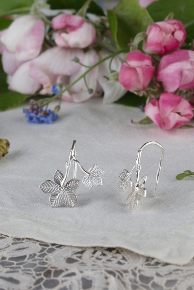 Sycamore leaf earrings on hooks in silver and 22ct gold plate