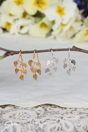 vine leaf earrings on hooks in sterling silver and 22ct gold plate