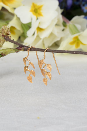 vine leaf earrings on hooks in 22ct gold plate