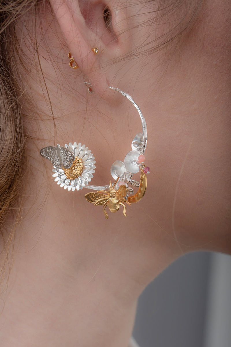 Sterling Silver and Gold Bee, Butterfly, Sweet Pea and Daisy Statement Earrings