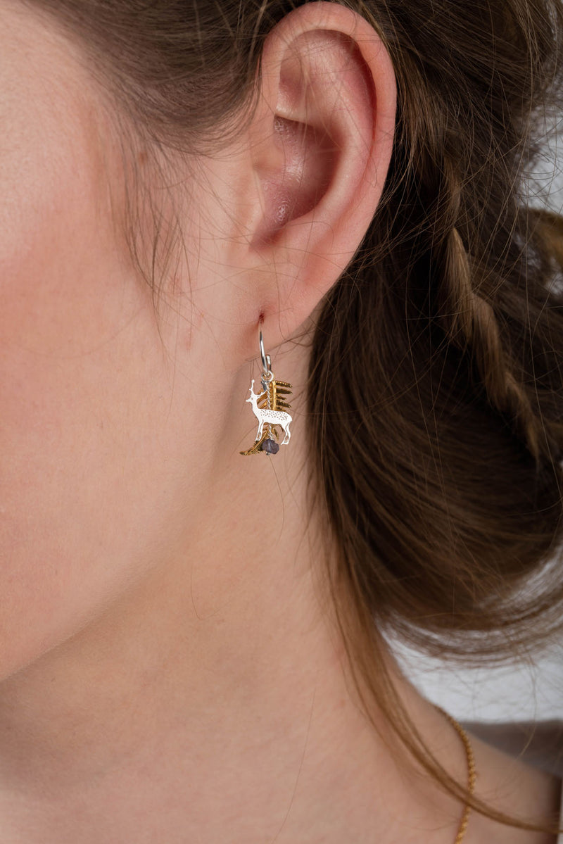 Stag and Fern Earrings on Half Hoops