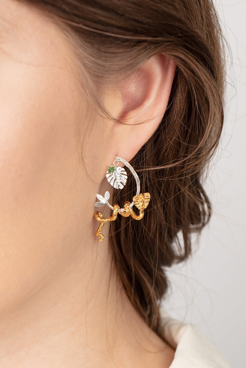 Snake in the tree earrings