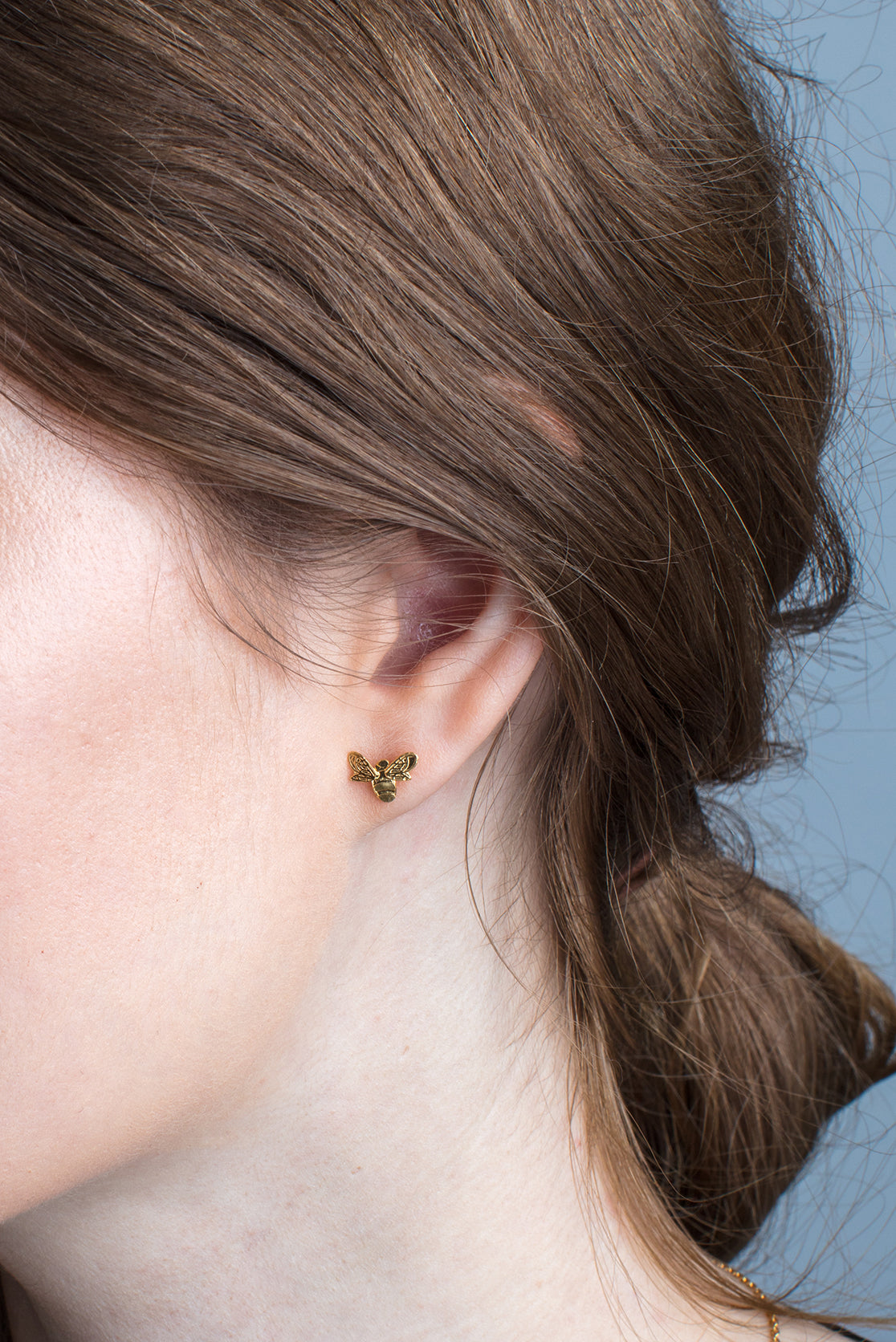 Sterling Silver or Gold Bee Earrings - Mini Studs