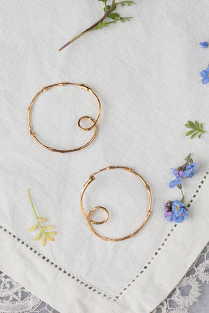 twig hoop earrings in 22ct gold plate