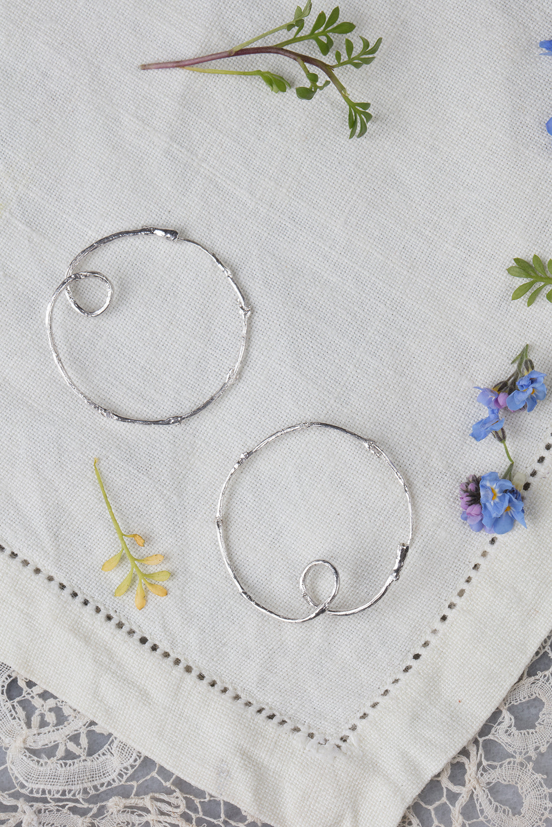twig hoop earrings in silver