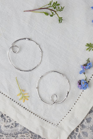 twig hoop earrings in sterling silver and 22ct gold plate
