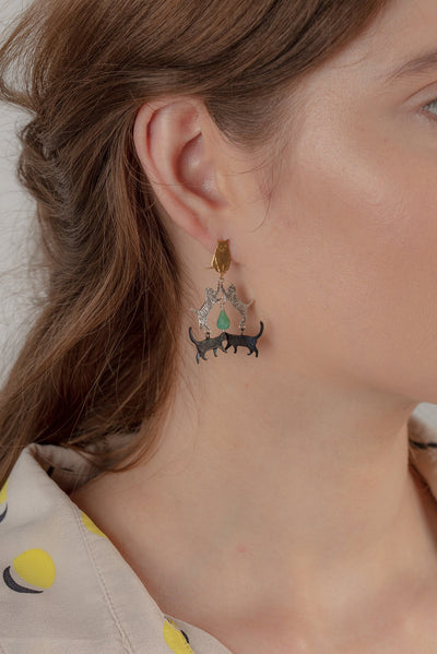 crazy cat earrings