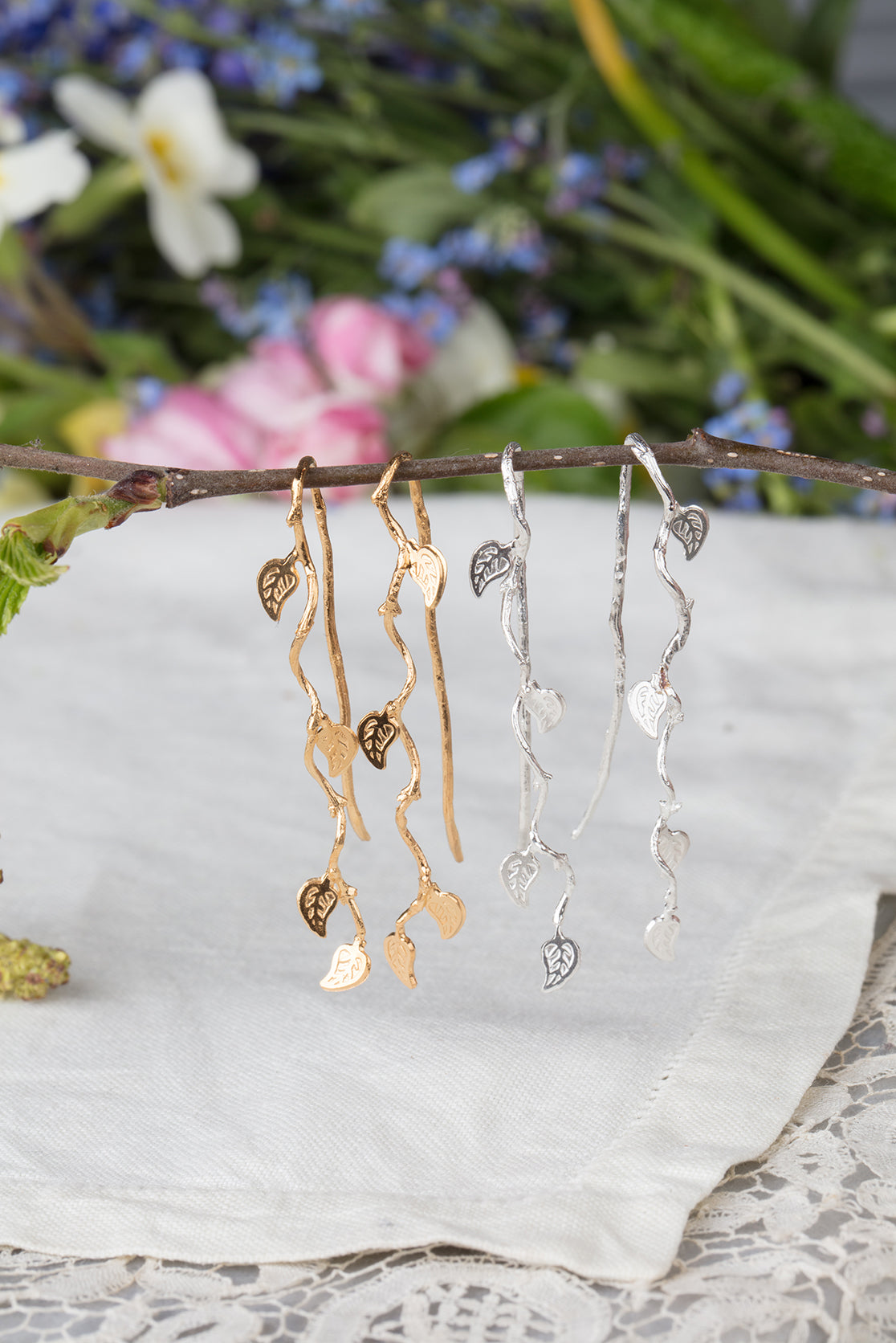 long vine leaf earrings in silver and 22ct gold plate