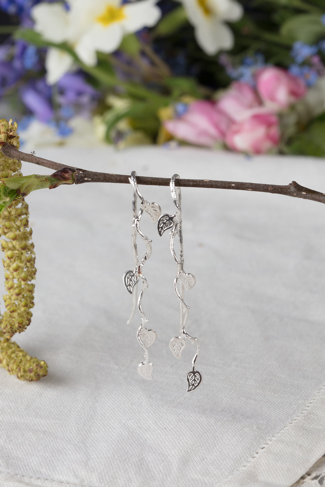 long vine leaf earrings in silver