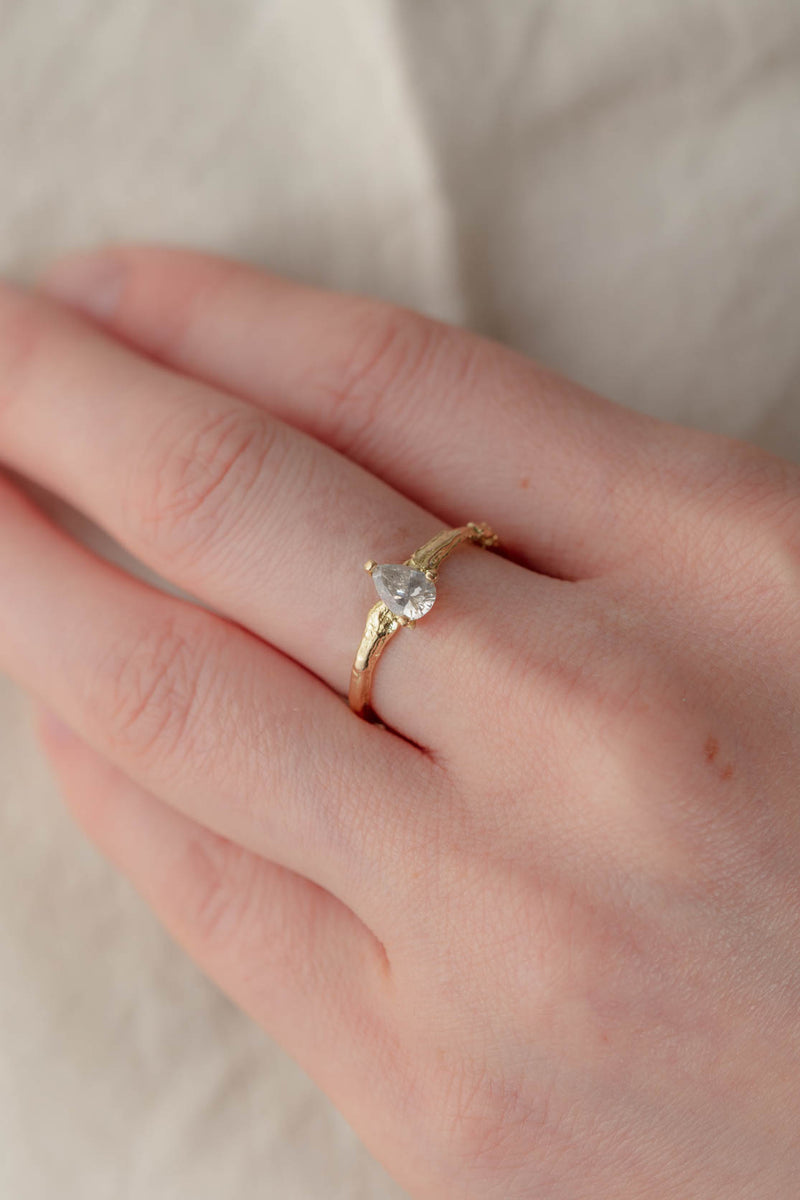 18ct Gold, Forest Ring - Grey Diamond