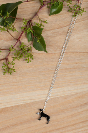 Staffordshire Bull Terrier on a lead necklace