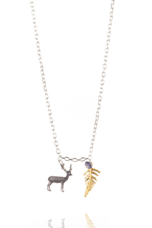 Small Stag and Fern Pendant