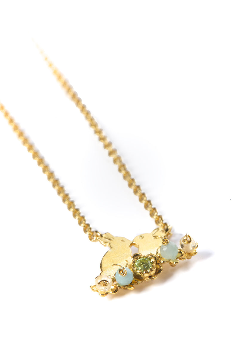 Kissing Bunnies and Flowers Necklace