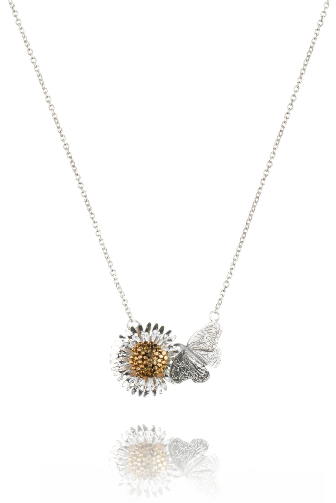 Sterling Silver and Gold Butterfly And Daisy Necklace