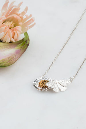 Butterfly And Daisy Necklace