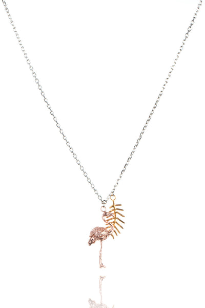 925 sterling silver chain with 22ct Gold Vermeil palm leaf