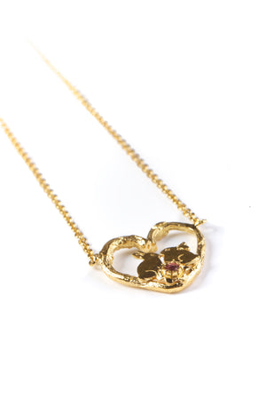 Kissing Bunnies Heart Necklace