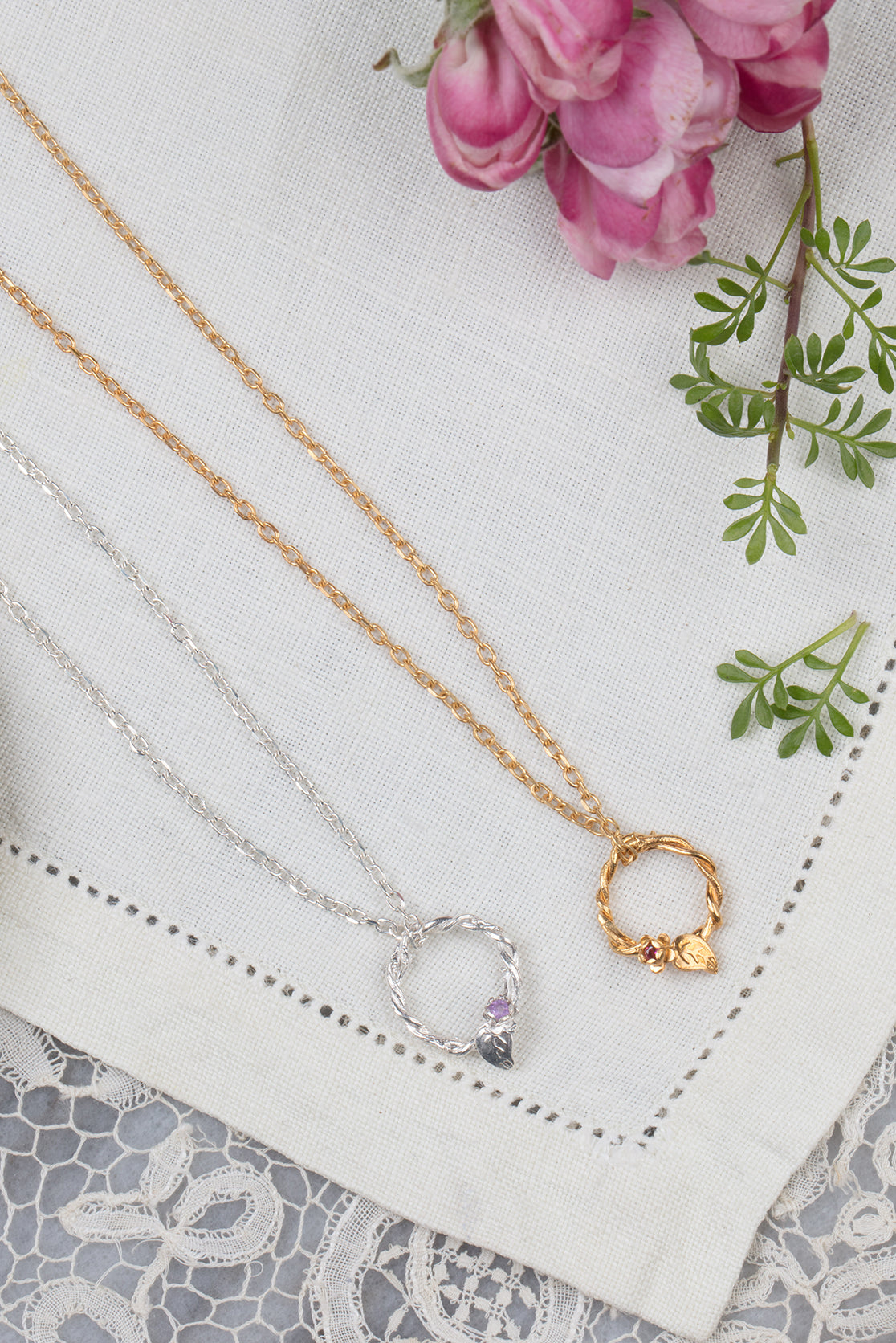silver and gold entwined vine circle necklace