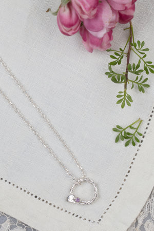 silver entwined vine circle necklace
