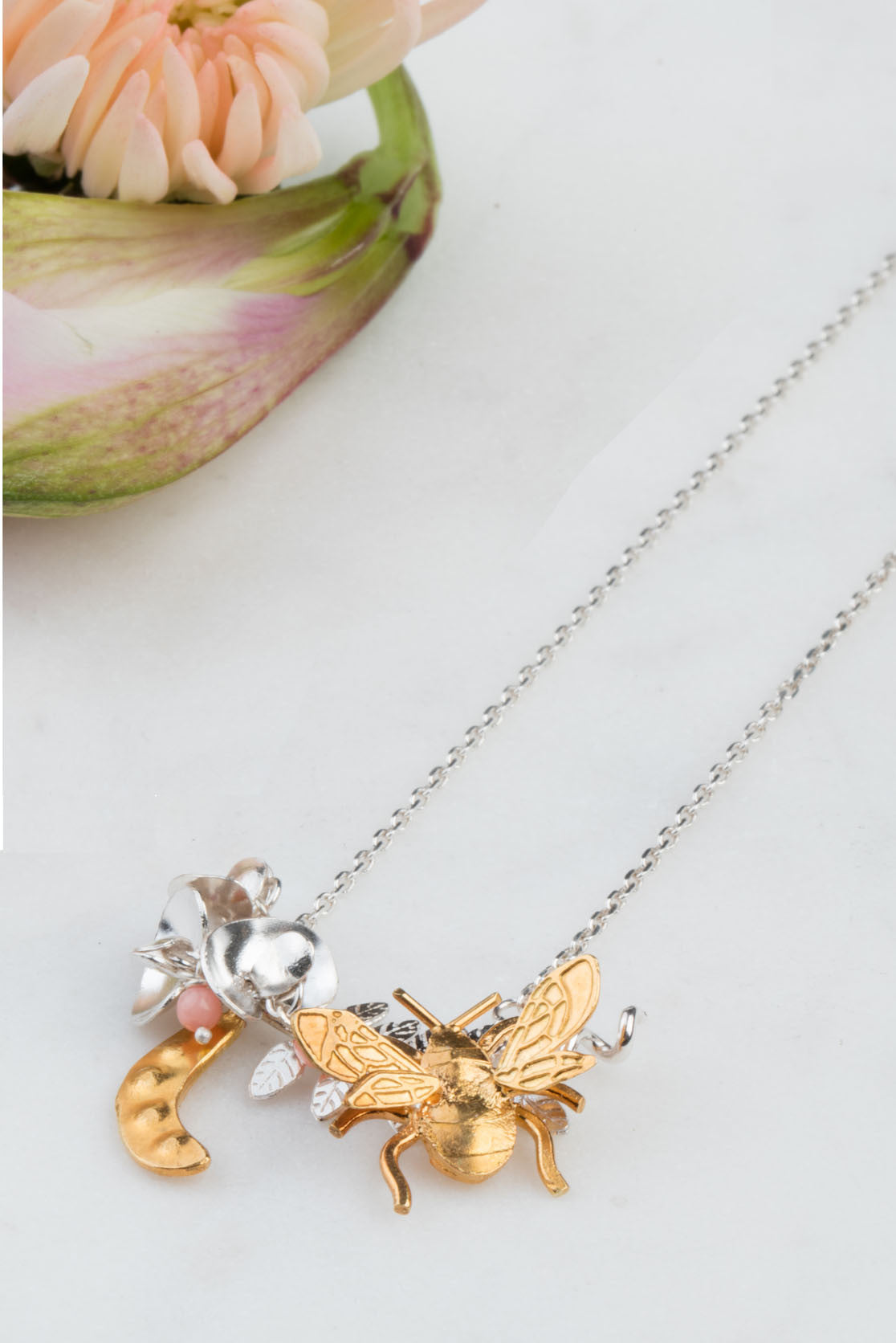 Sterling Silver and Gold Sweet Pea And Bee Necklace