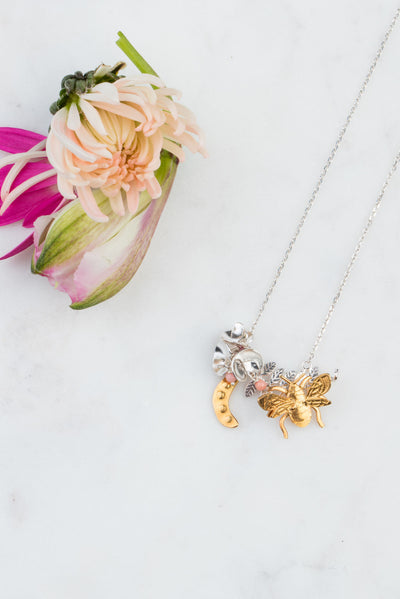 Sweet Pea And Bee Necklace