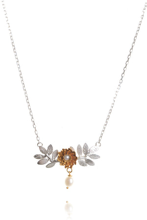 925 silver leaves with 22ct gold vermeil flower - pearl with pearl drop