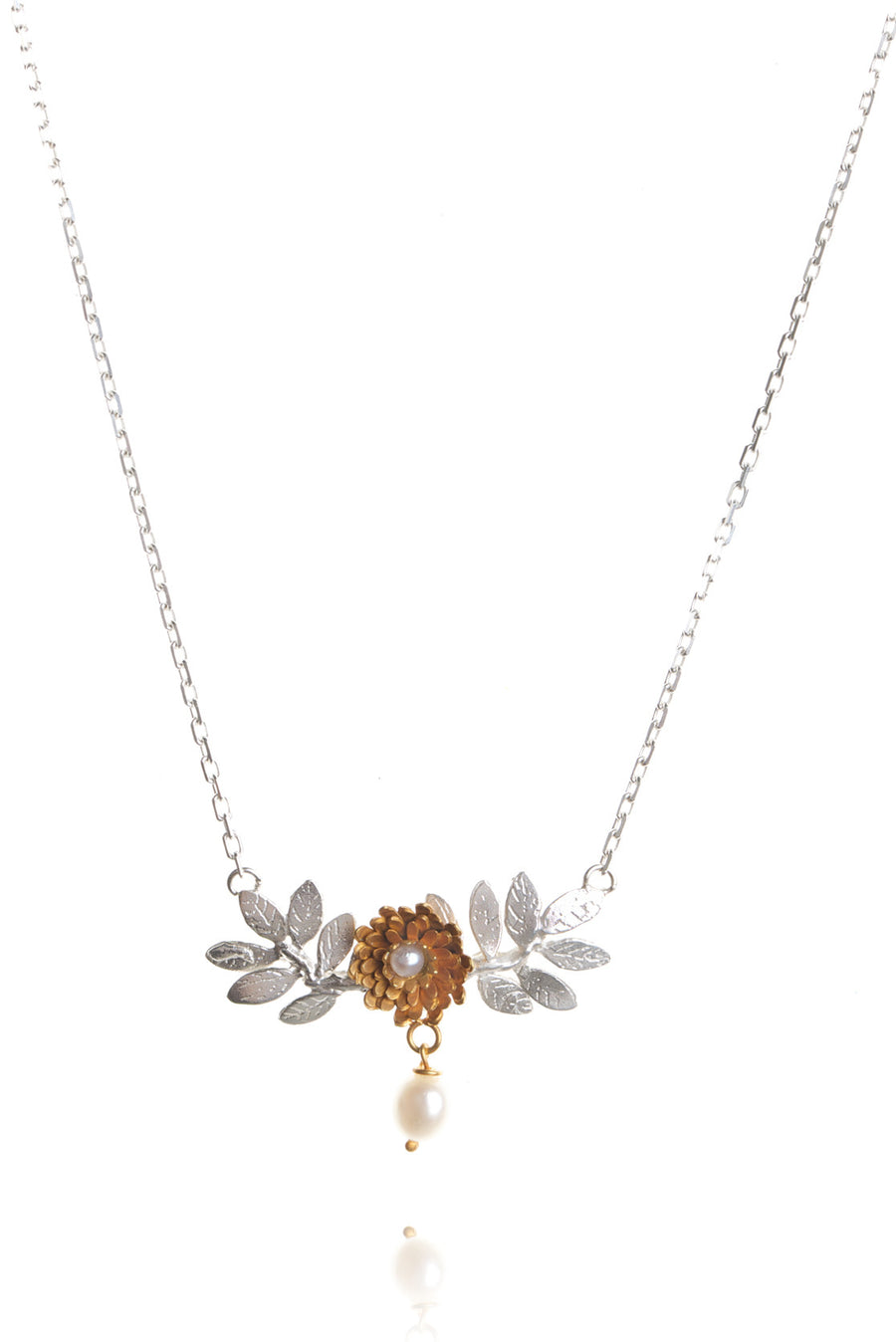 Dahlia and Leaf Necklace