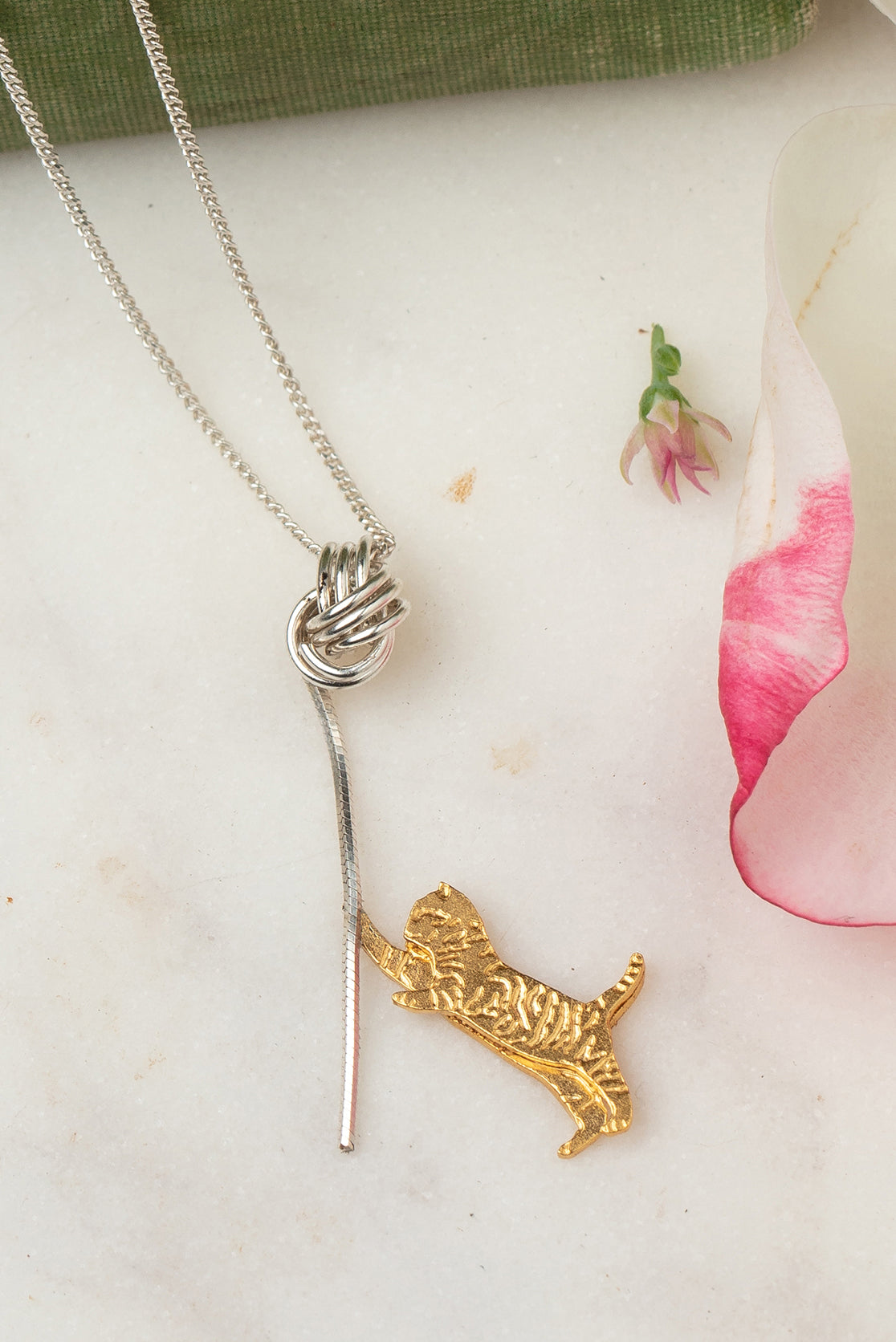 gold kitten necklace