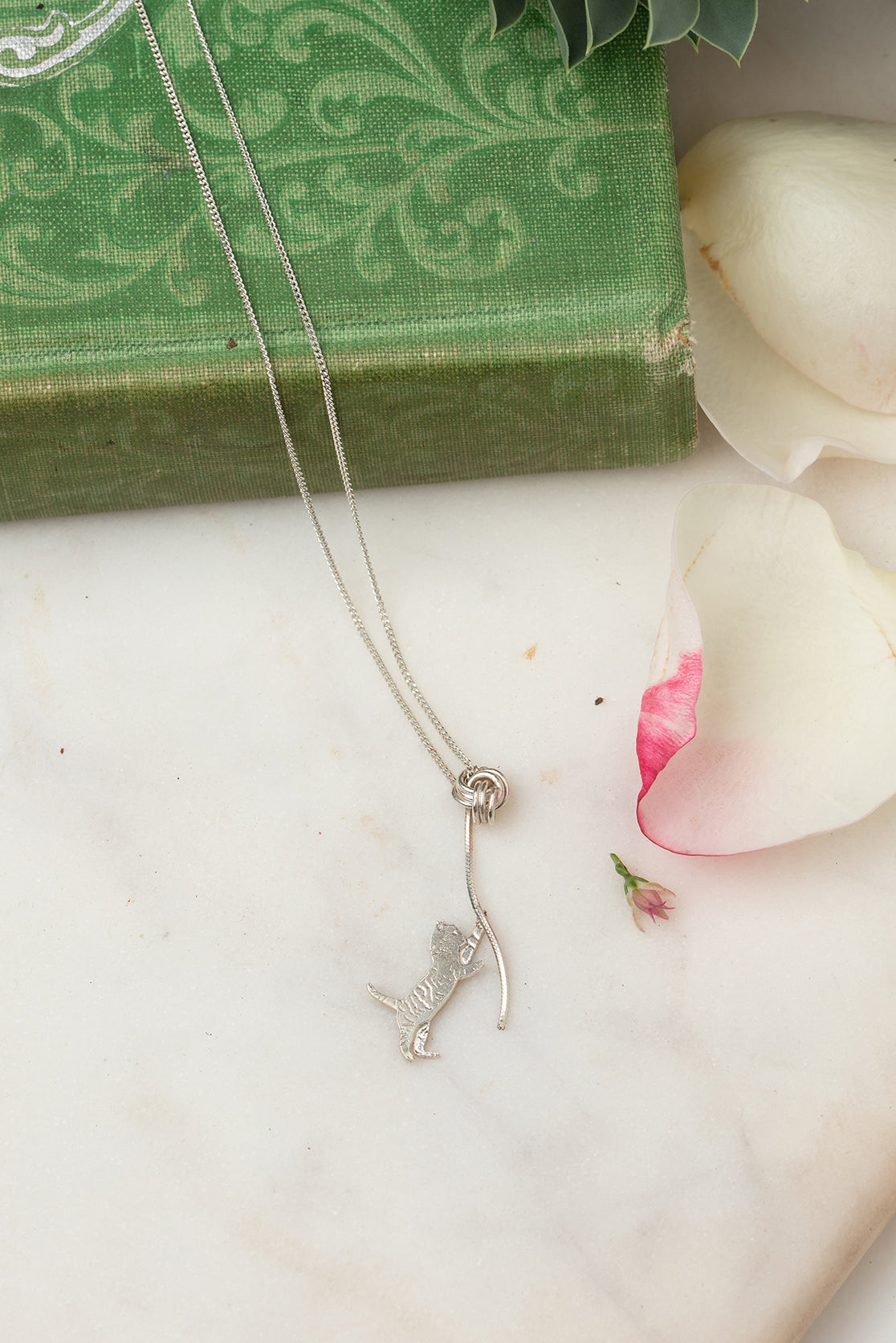 silver kitten necklace
