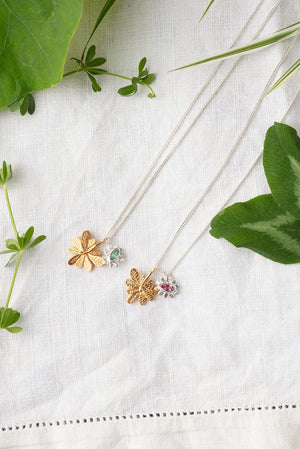 Marquise flower and Aralia leaf necklace