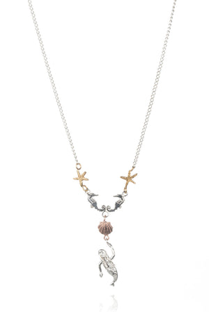 Double Seahorse Pendant With Mermaid