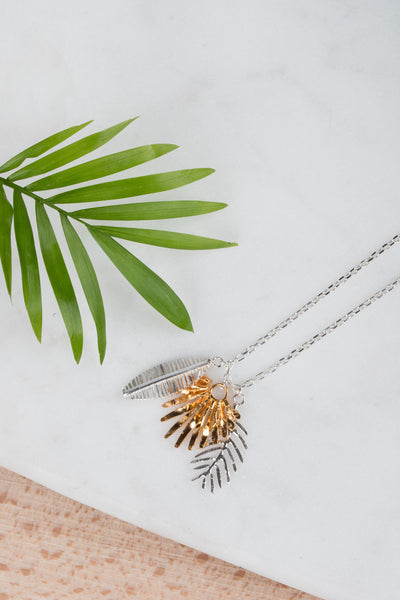 Triple Palm Leaves Pendant