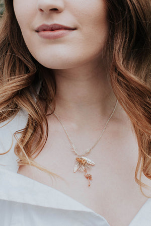 Flamingo and Multiple Palm Leaves Necklace