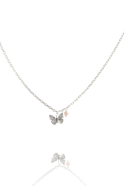 Sterling Silver or Gold Tiny Butterfly Necklace With Pink Flower