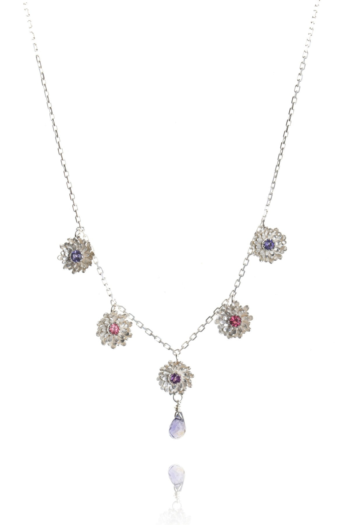 925 Sterling Silver with pink tourmalines, iolites, amethyst and iolite drop
