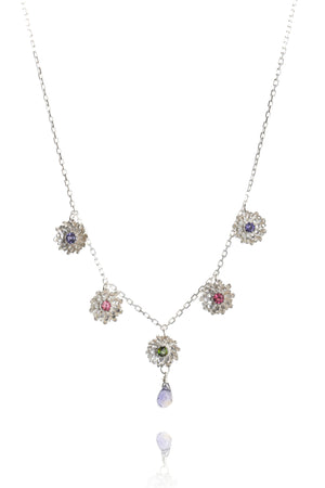 925 sterling silver with pink tourmalines, iolites, green tourmaline and iolite drop