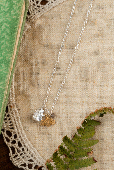 925 sterling silver with 22ct gold vermeil leaves