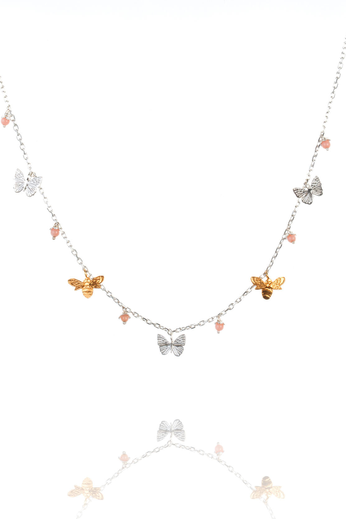 mini bee and butterfly necklace