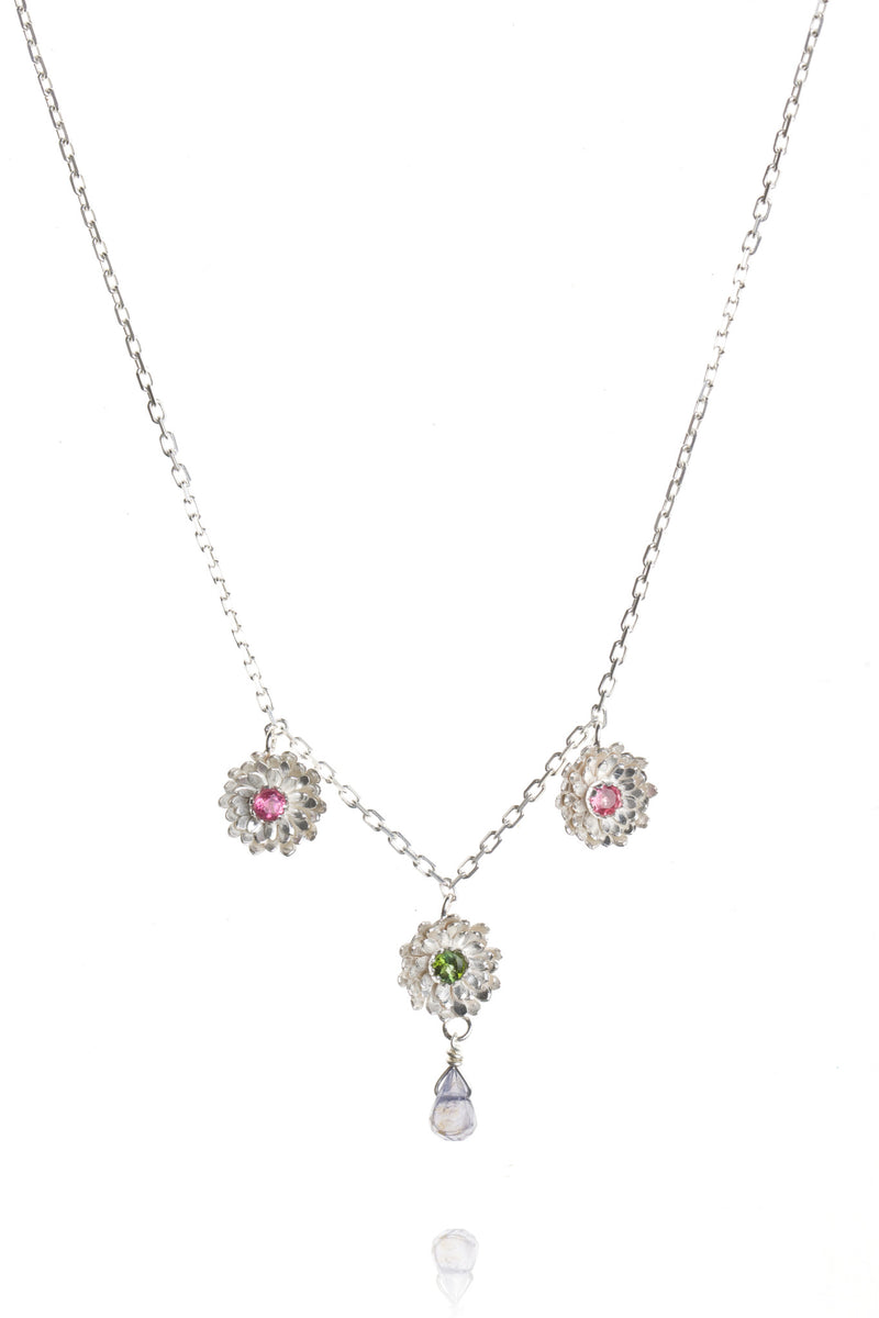 925 Sterling Silver with pink and green tourmalines and iolite drop
