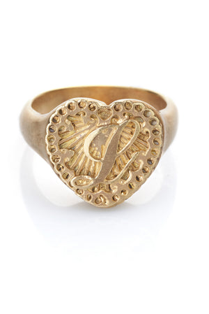 initialed love heart signet ring