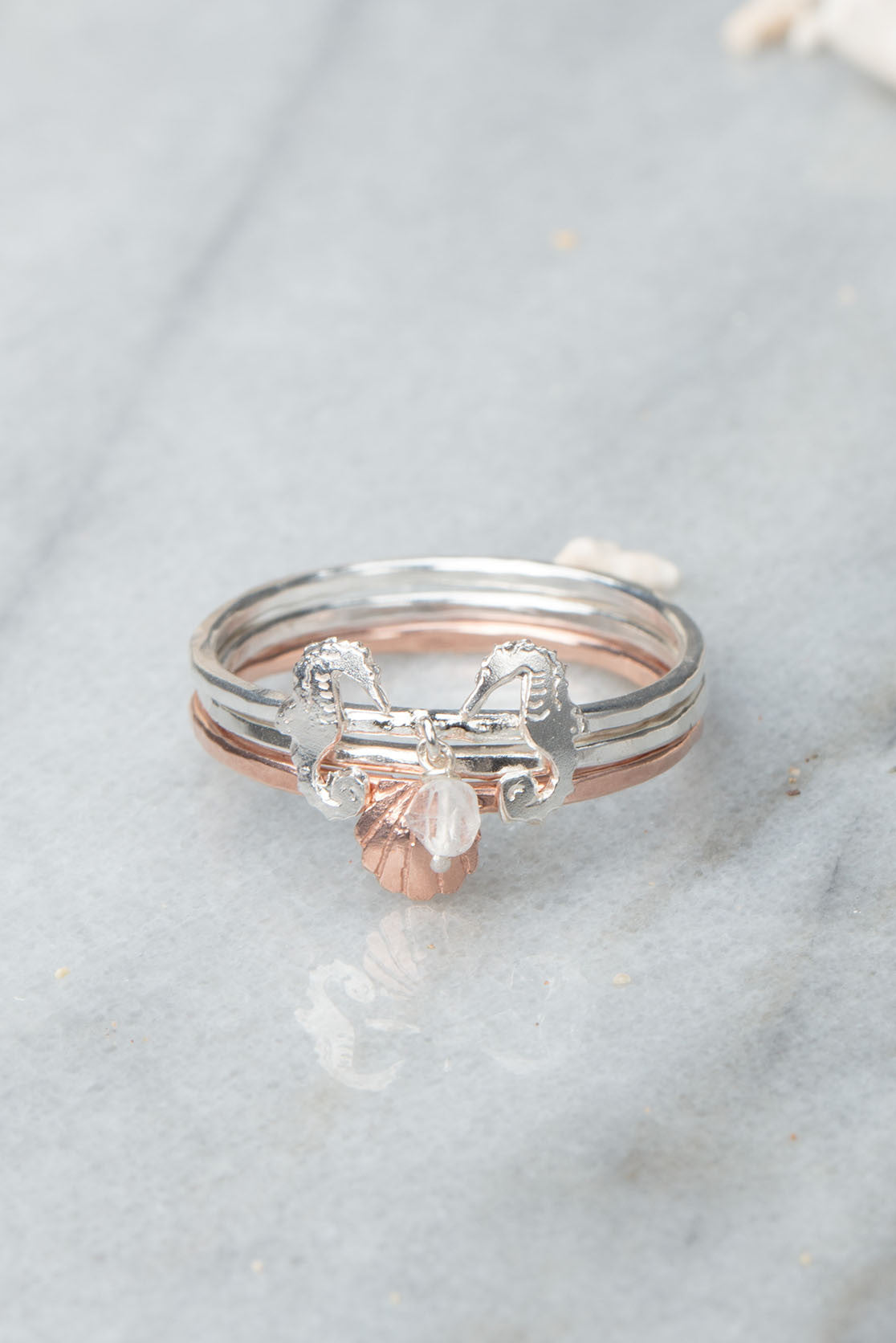 Double Seahorse Ring Set