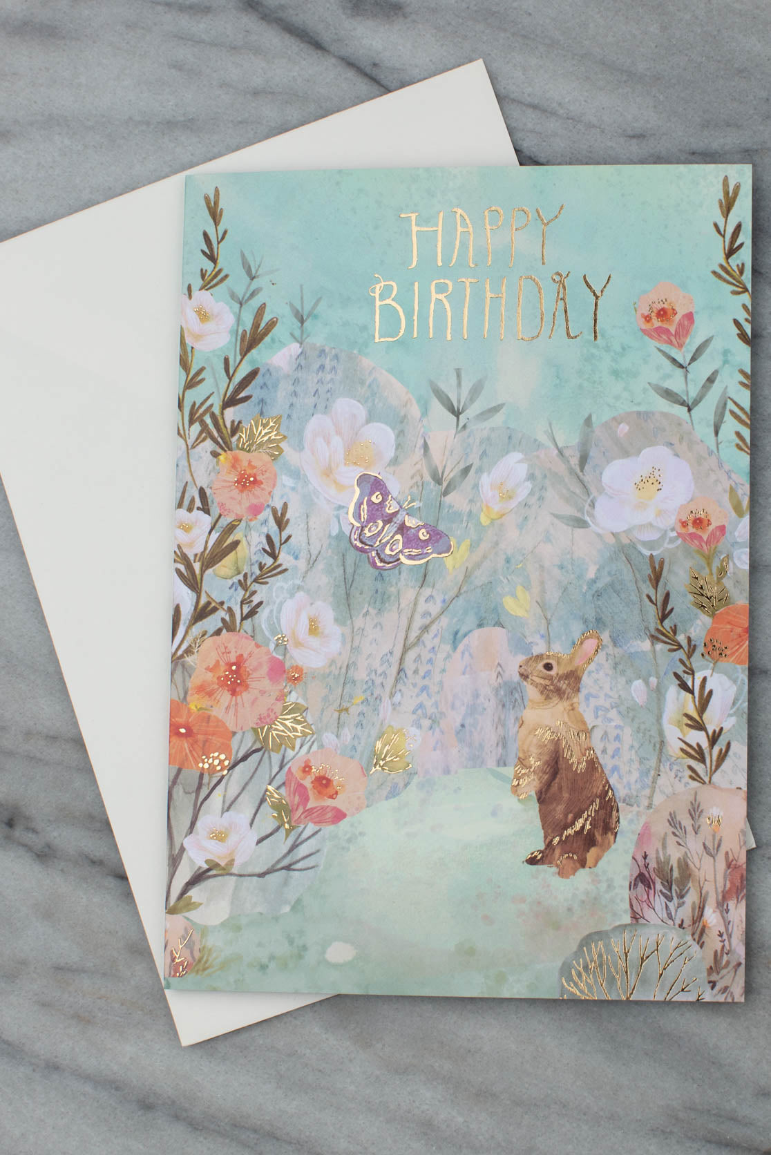 Bunny, Butterfly And Flowers Birthday Card