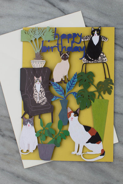 Cats And Houseplants Laser Cut Birthday Card