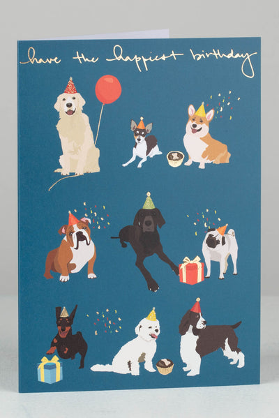 Dogs And Party Hats Birthday Card