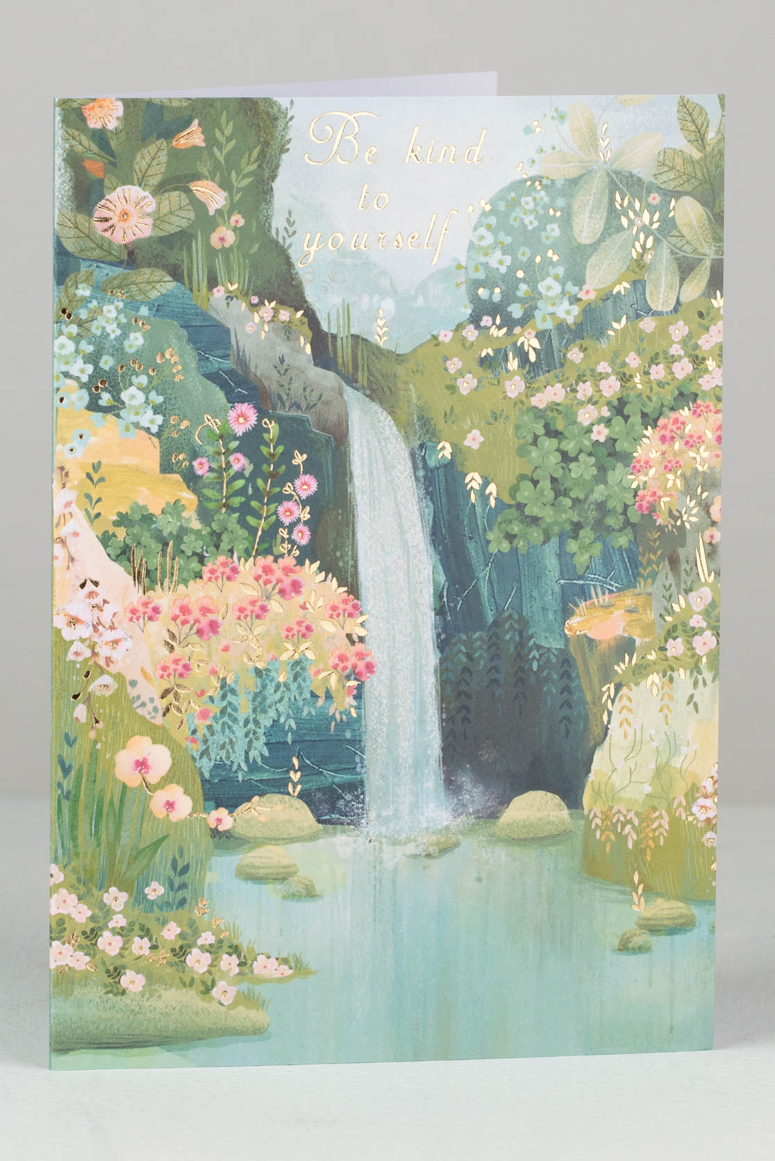 Be Kind To Yourself Waterfall And Flowers Card