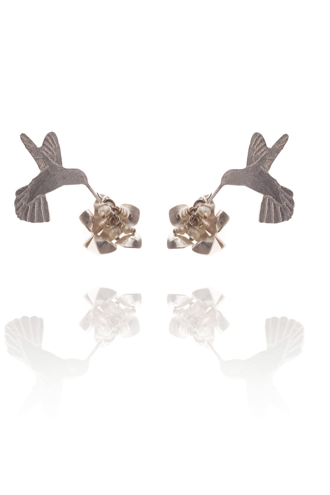 Humming Bird and Flower Earrings