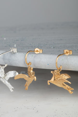 Pegasus earrings on half hoops