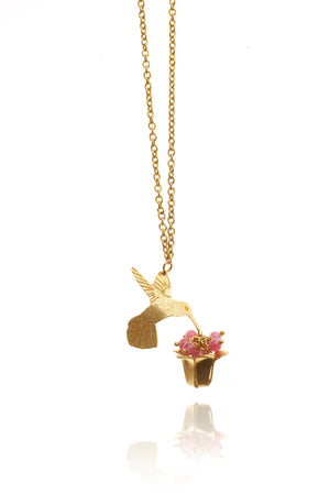 Small Single Hummingbird & Flower Necklace