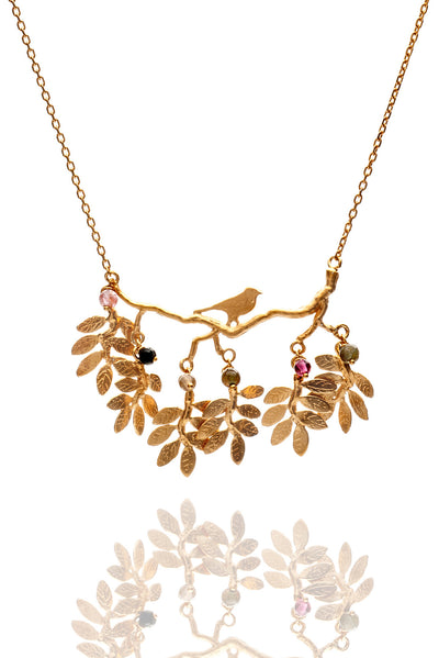 Bird on Branch with Moving Leaves Necklace