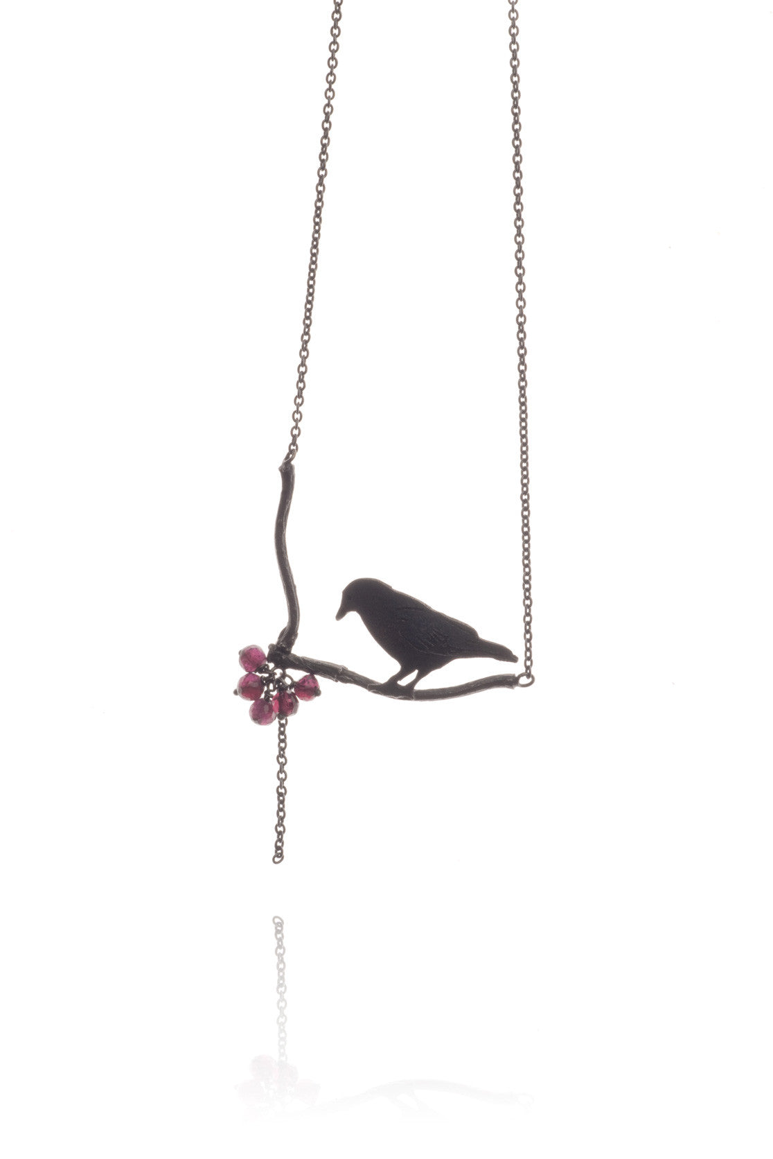 Raven Looking At Berries Necklace